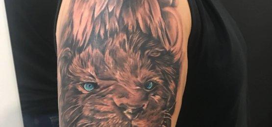 tatuaż lew i orzel