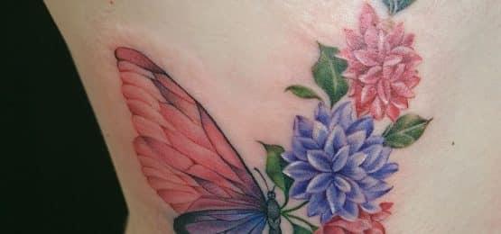 kolorowy tatuaż motyl